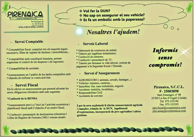 SERVEIS GESTORIA/FISCALITAT/ASSEGURANÇES COOPERATIVA PIRENAICA